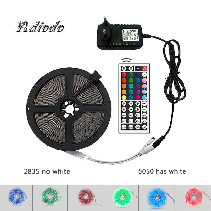 LED RGB SMD 5050 2835 Flexible LED Strip Light Strip RGB Led Strip 5M 10M 15M DC 12V Diode Strap + Remote Control + Adapter