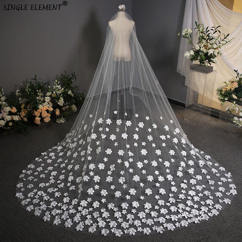 Sweet Princess 3m Long Accessories Bridal Elegant Flowers Wedding Veil