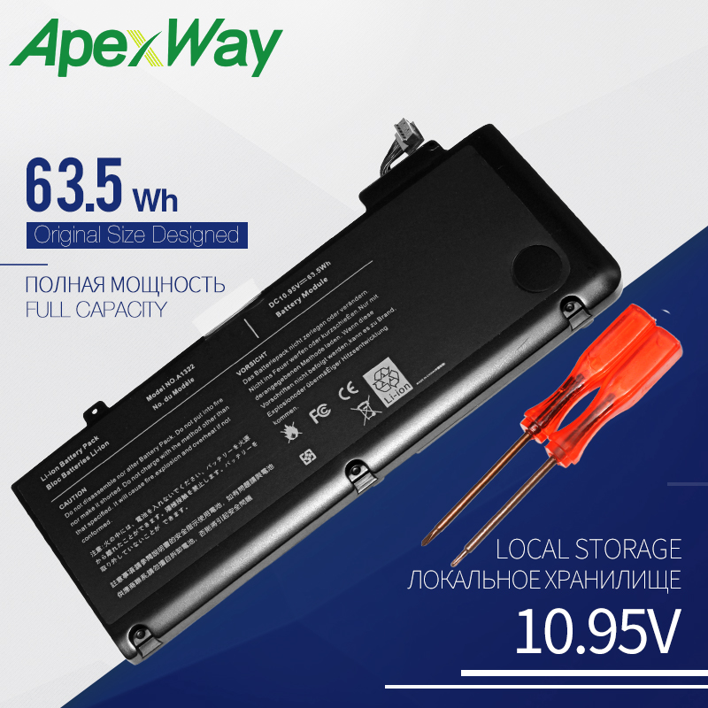 63.5WH ApexWay  Laptop Battery For APPLE MACBOOK PRO 13