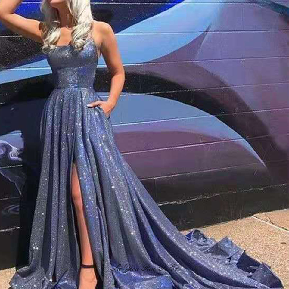 Glittery Prom Dresses 2020 Side Slit Long Dress Party Spaghetti Strap Lace Up Back Court Train A-line Prom Gown Vestido De Festa