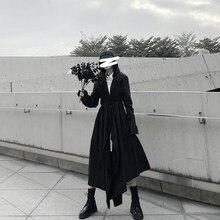 Robe noire irrégulière longue à cravate design foncé pour femmes, robe à manches longues style chemise à la taille