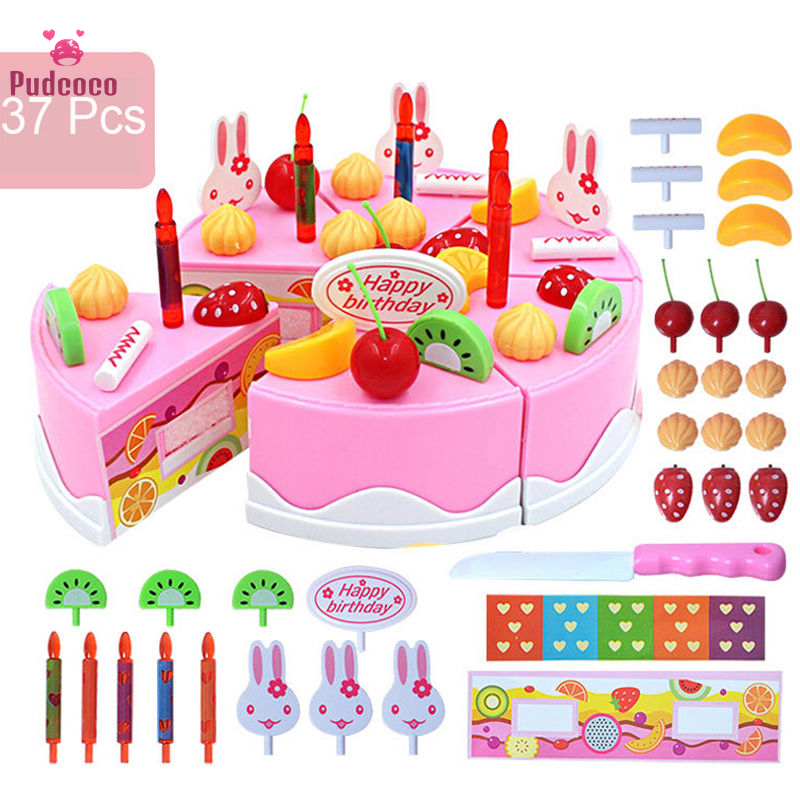 Pudcoco 37pcs Birthday Party Cake Set Girls Toys Children Boy Girls Role Pretend Play Food Kids Kitchen Toy Pink Fake Food Funny