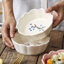 450ml japonês handpaiting ameixa cerâmica tigela underglazed floral porcelana salada tigela bolo sobremesa tigelas cerâmica utensílios de mesa