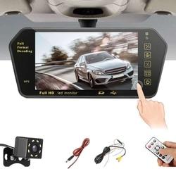 7 Cal wyświetlacz tft lcd do samochodu kolorowe lustro MP5 odtwarzacz Viedo Stereo monitor widoku z tyłu wyświetlacz