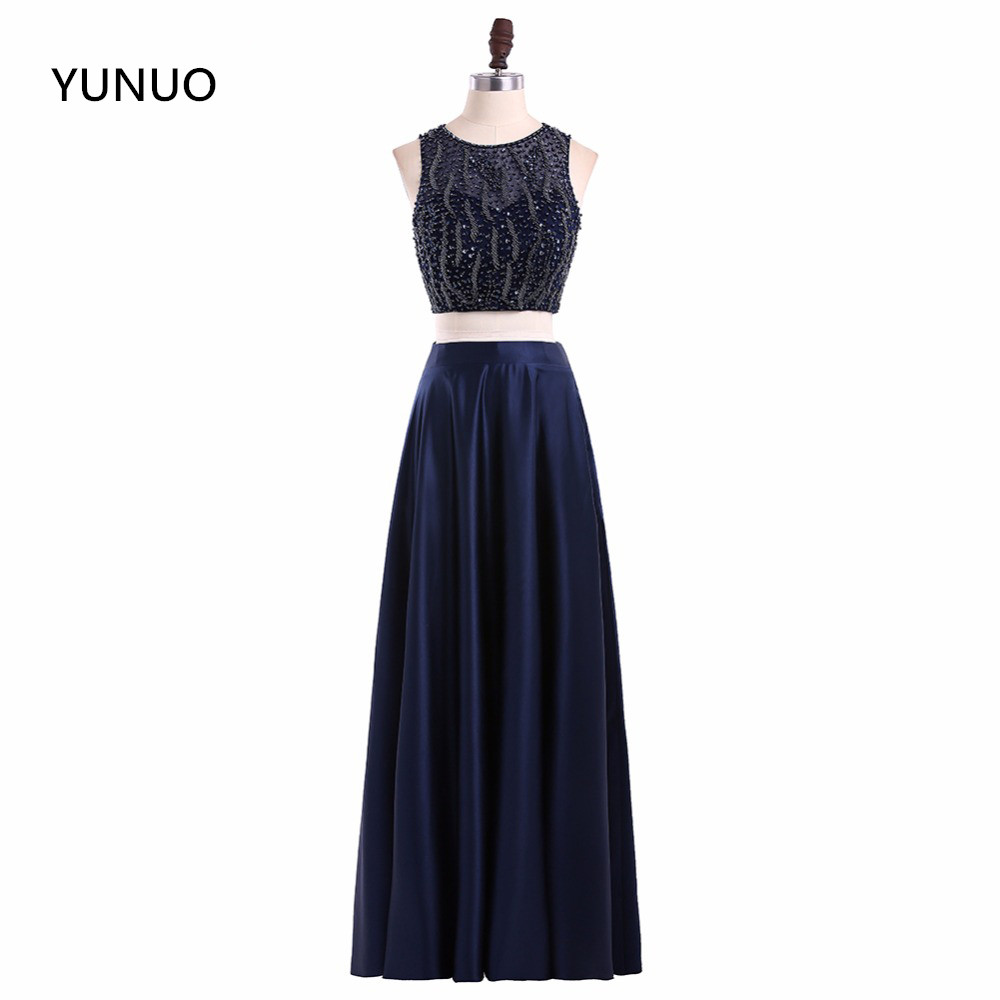 YUNUO Two Pieces Black Prom Dresses 2020 A Line Beading Robe De Soiree Custom Made Special