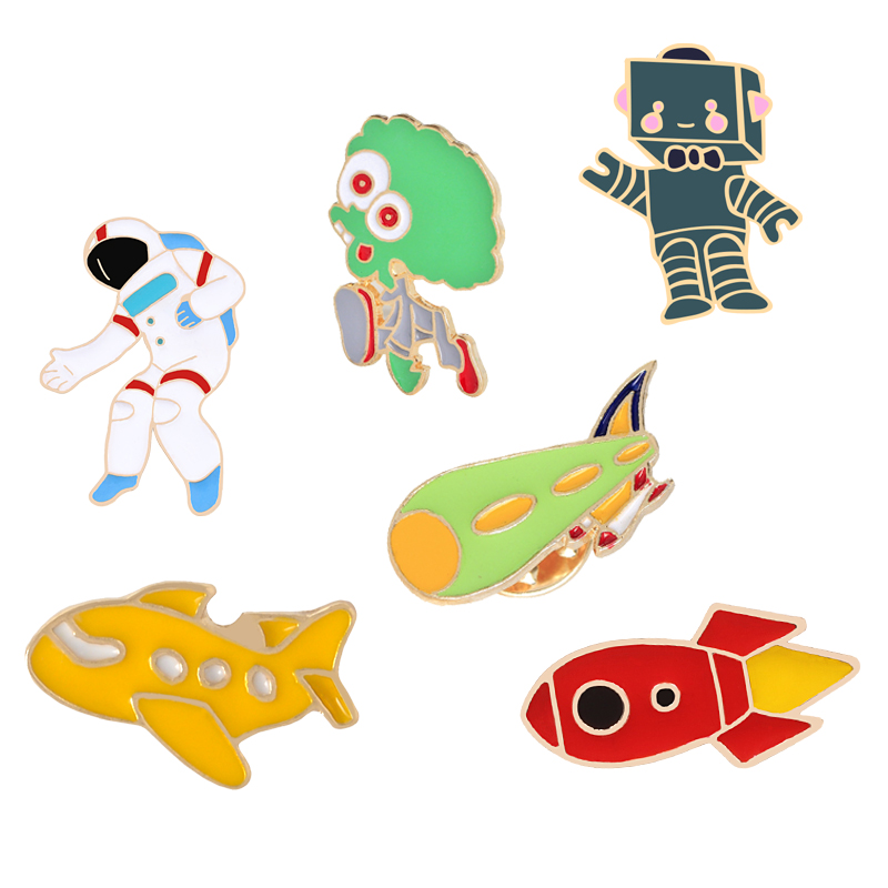 Cute Funny Astronauts Brooch Lips Rocket Label Pin Collar Pins Badge Jewelry