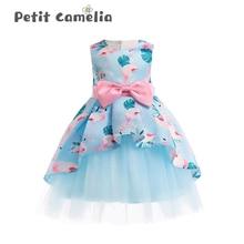 Summer Kids Girls Bowknot Dress Skirt Princess Dress Party Clothes Mesh Tutu Dress For Girls 3-8Yrs Sleeveless Princess Dress
