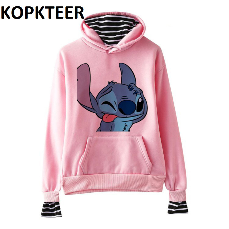 Women Winter Fashion Hoodies Harajuku Hoodie Kawaii Stitch Graphic Sweatshirt Long Sleeve Cute Warm Vintage Cute Clothes