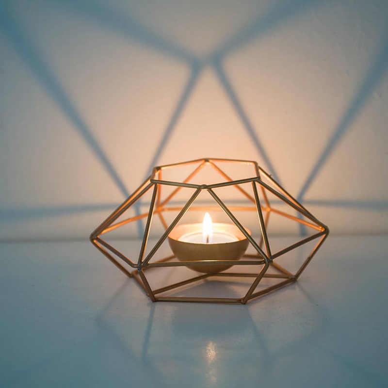 الموضة هندسية الحديد الشمعدان جدار شمعة حامل حلية الشمعدان مطابقة Tealight الصلب الحد الأدنى ديكور منزلي للزفاف هدية
