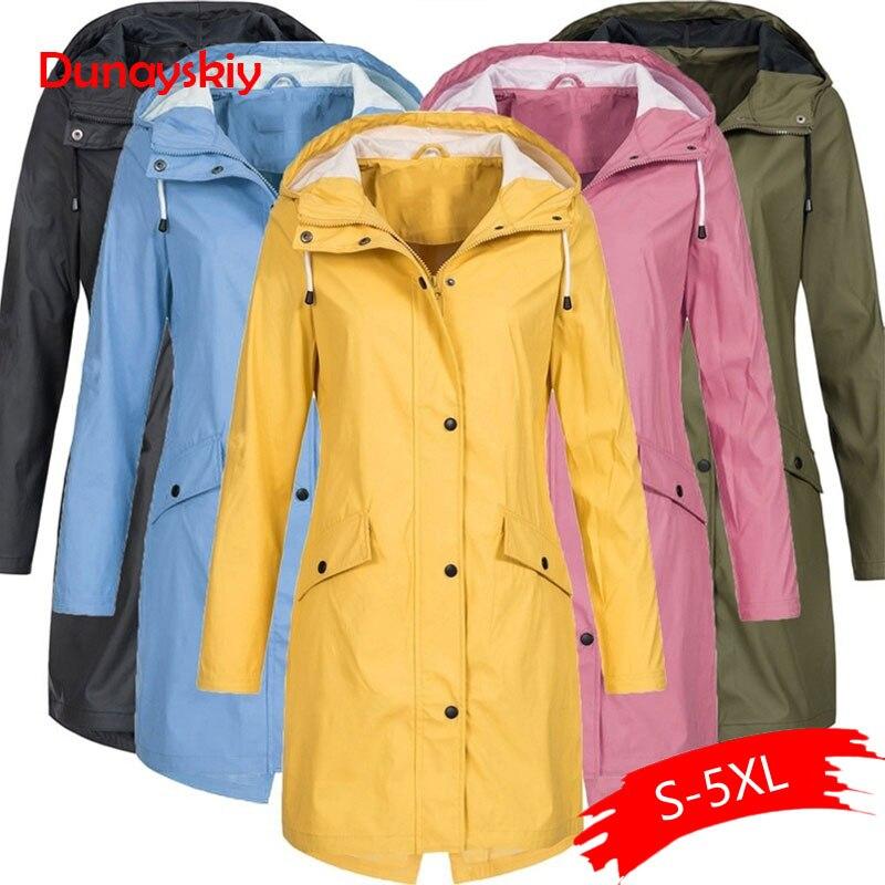 Women's Solid Rain Jacket Outdoor Hoodie Waterproof Long Coat Overcoat Windproof Cotton Solid Long Plus Size Coat Female