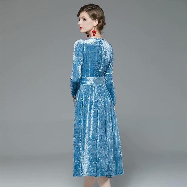 Spring and summer 2020 new quality V-neck medium length solid velvet nail bead dress 2
