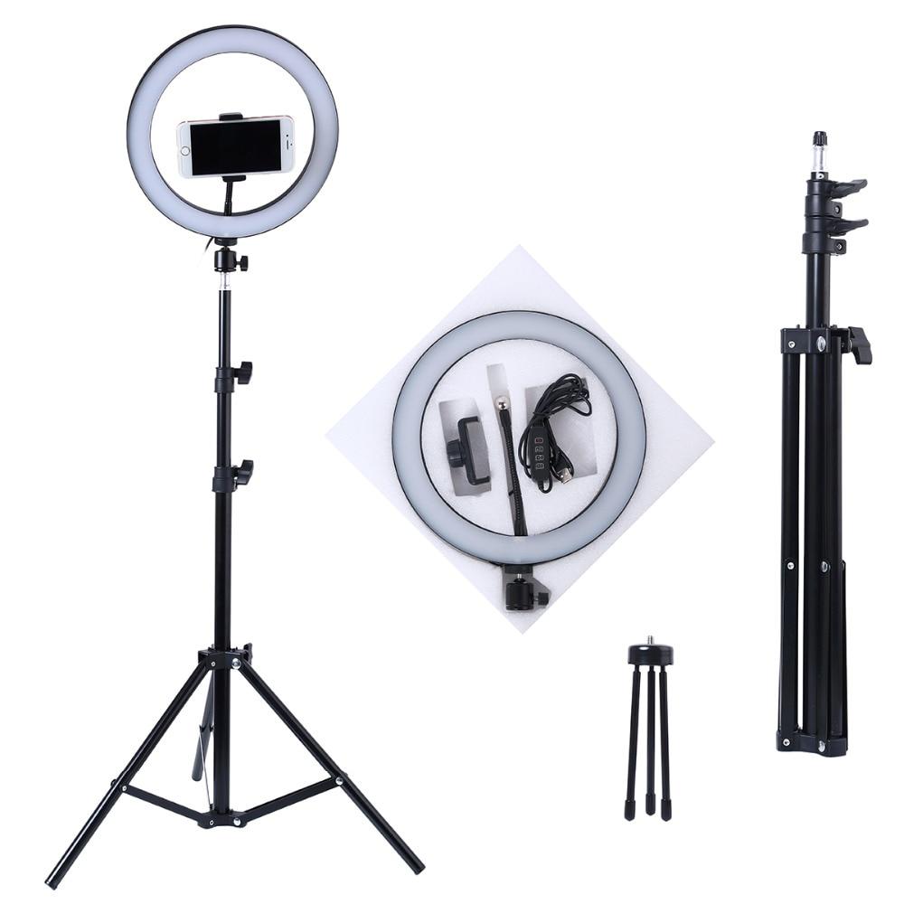 Photo Lamp Ring Light 16/20/26cm  64 LEDs Selfie Ring Lamp Photographic Lighting With Tripod Phone Holder USB Plug Photo Studio