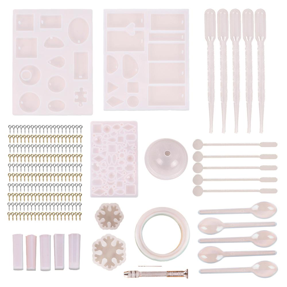 128Pcs Jewelry Casting Molds Tools Set Pendant Silicone Molds Screw Eye Pin Twist Drill Stirrer DIY Pendant Craft Jewelry Making image