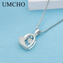 UMCHO Heart Beatin 925 Sterling Silver Necklaces Pendants Party Charm For Women Engagement S925 Gifts Fine Jewelry Without Chain