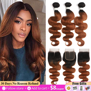 Brazilian Body Wave Bundles With Closure T1B/27 30 Ombre Blonde Brown Human Hair Weave Bundles With Closure Non-Remy Hair SOKU