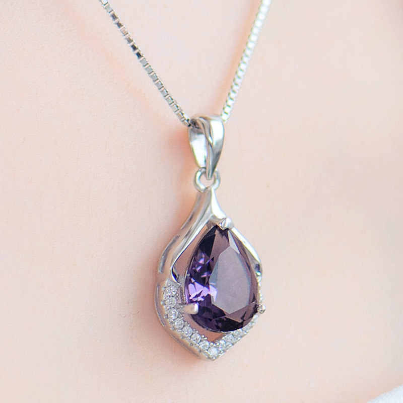 Bague Ringen Elegan Air Jatuh Berbentuk Liontin Amethyst Kalung untuk Wanita Temperamen Batu Permata Perak 925 Perhiasan Pernikahan Hadiah