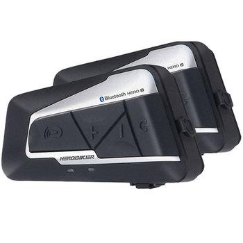 HEROBIKER-Interkom motocyklowy Bluetooth 1200M do kasku wodoodporny bezprzewodowy tanie i dobre opinie 1000 m CN (pochodzenie) Zestaw słuchawkowy na kask wodoodporne Redukcja szumów 0 2kg Bluetooth Intercom 5 4cm HERO 2