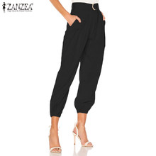 Women High Waist Overalls Pants ZANZEA Ladies Work Office Harem Pants Casual Solid Long Trousers Belted Pantalones Streewear 5XL(China)