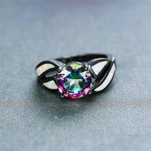 цена Vintage Female Rainbow Colorful Round Ring Charm Black Gold Wedding Rings For Women Promise White Fire Opal Engagement Ring онлайн в 2017 году