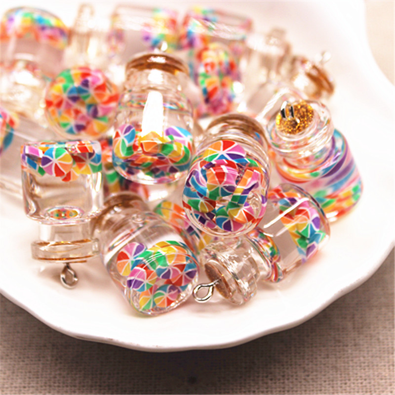 5pcs New Design Mix Colors 3D Glass Rainbow Slices Sealed Bottle Iron Hook DIY Craft/Jewelry Accessory,15*22mm
