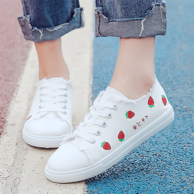 Women Sneakers Strawberry Canvas Shoes Banana Lace Up Shoes Woman Flats Printing Espadrilles White Shoes Ladies Romeetse 7418