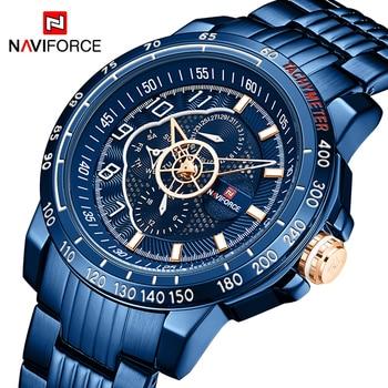 NAVIFORCE NF9180 Mens Stainless Steel Gold Men Business Dress Wrist Watch Waterproof Clock