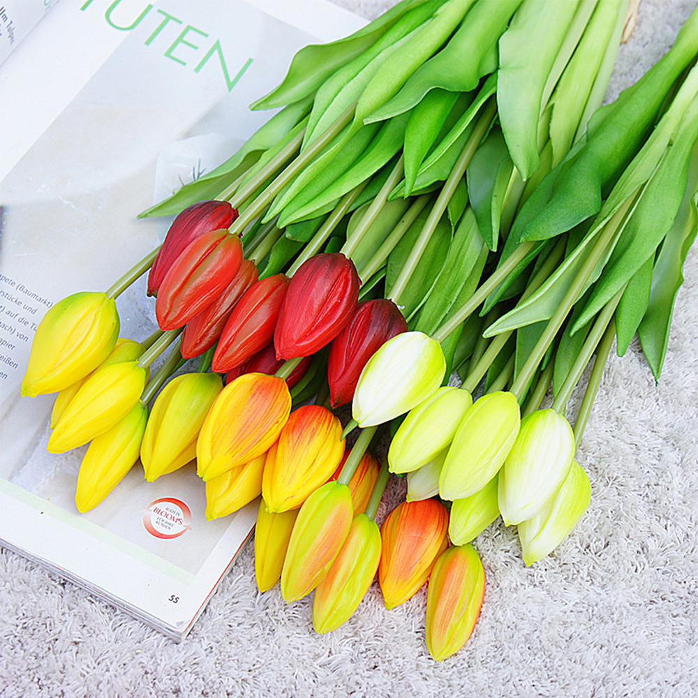 7Pcs Tulips Artificial Flowers For Home Wedding Decoration Fake Bride Hand Flowers Real Touch Soft Silicone Tulip flores 1