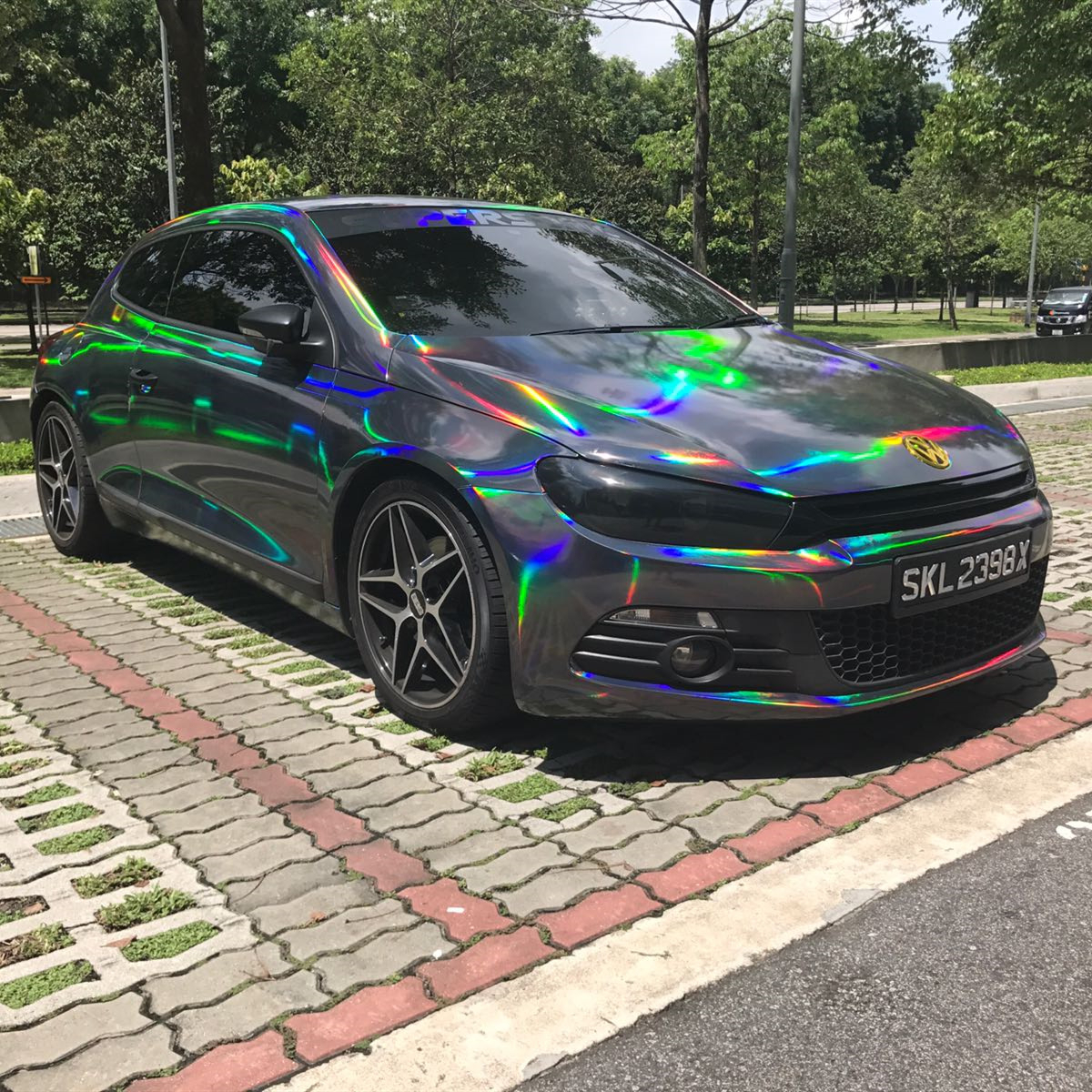 Premium Silver Purple Gold Black Chrome Holographic Vinyl Wrap Rainbow Laser Vinyl Film Bubble Free Car Sticker