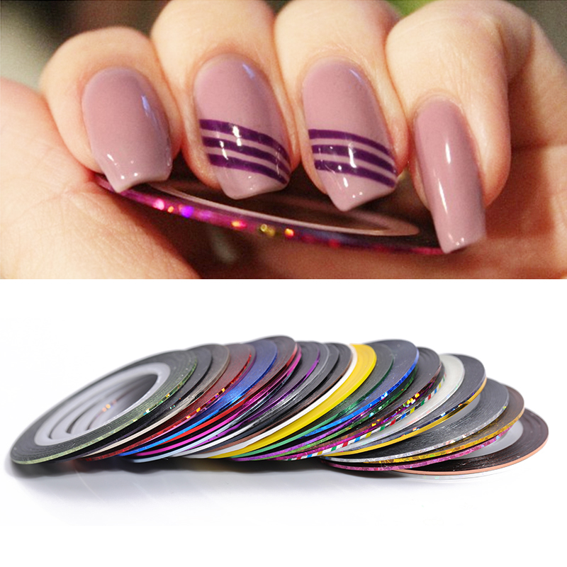 2mm Matte Glitter Nail Striping Tape Line Multi Color Nail Styling Tool Sticker Decal DIY Nail Art Decorations