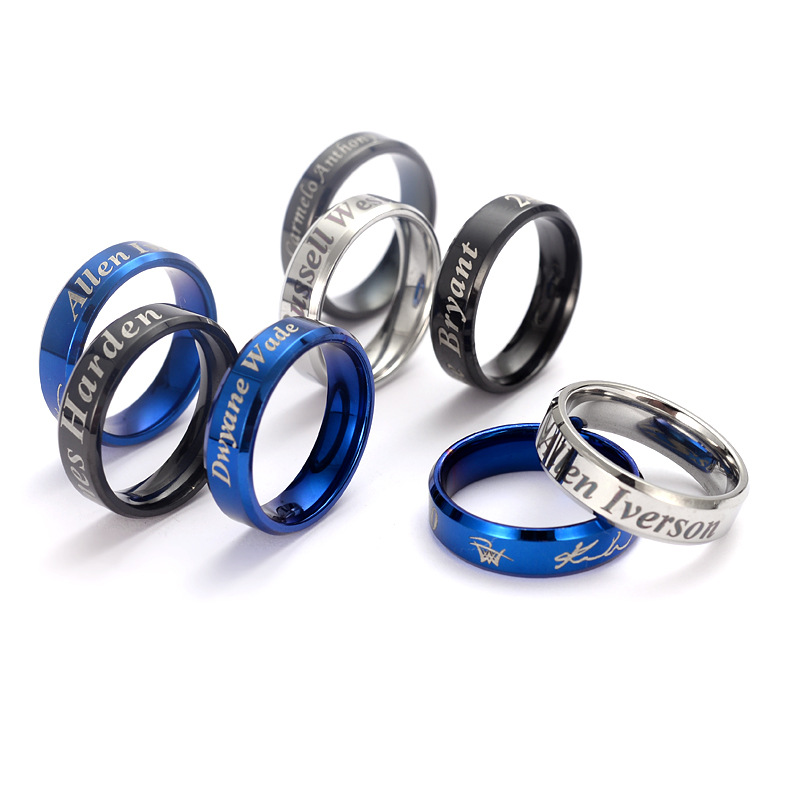 Titanium Steel Ring Owen Harden Curry McGrady Kobe Basketball Ring European And American Minimalist Tail Ring Men's