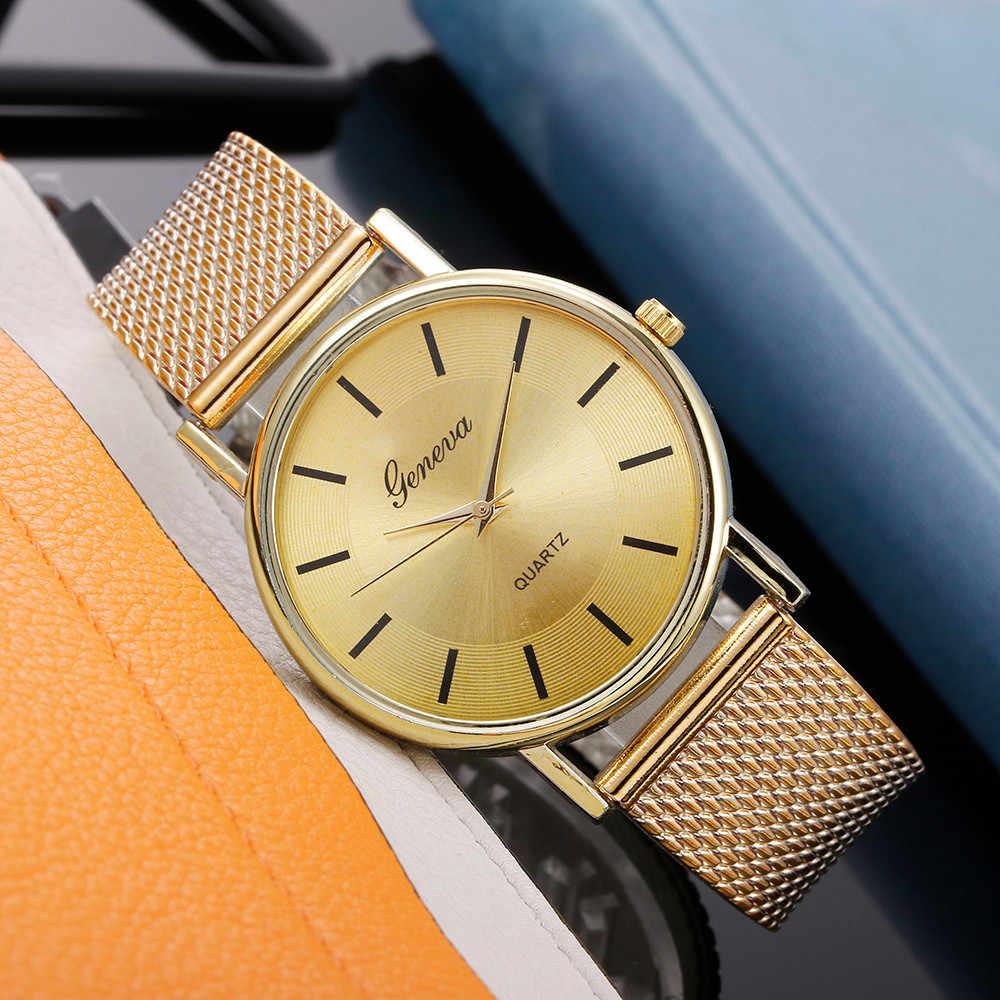 Gorący sprzedawanie genewa damski Casual silikonowy pasek kwarcowy zegarek Top marka dziewczyny zegarek z paskiem zegarek kobiety Relogio Feminino @ F