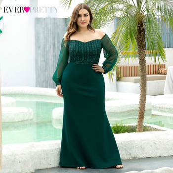 Plus Size Mermaid Evening Dress Ever Pretty Off The Shoulder Striped Long Sleeve Darped Elegant Party Gowns Robe De Soiree 2020