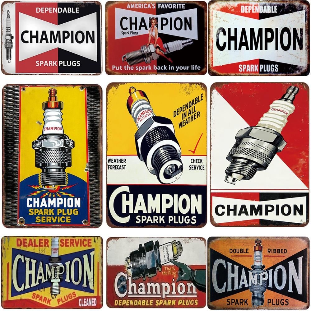Spark plugs service tin sign vintage metal plate painting retro iron picture wall decoration for garage bar cafe gym car shop image