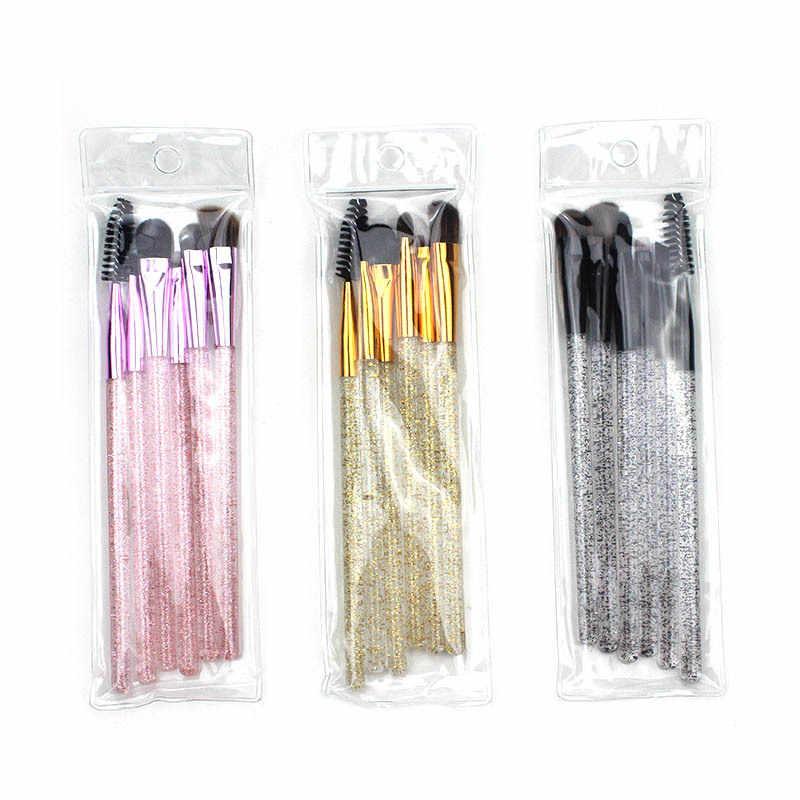 Glitter 6 adet güzel pembe Unicorn göz fırçalar seti Eyeliner kaş göz farı makyaj fırça seti kozmetik güzellik araçları
