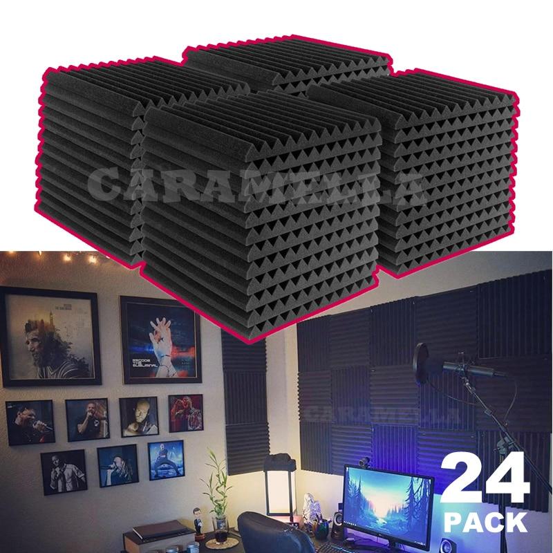 24 pces 300x300x25mm studio painel acústico espuma som espuma isolamento acústico esponja protetora à prova de som absorção tratamento painel