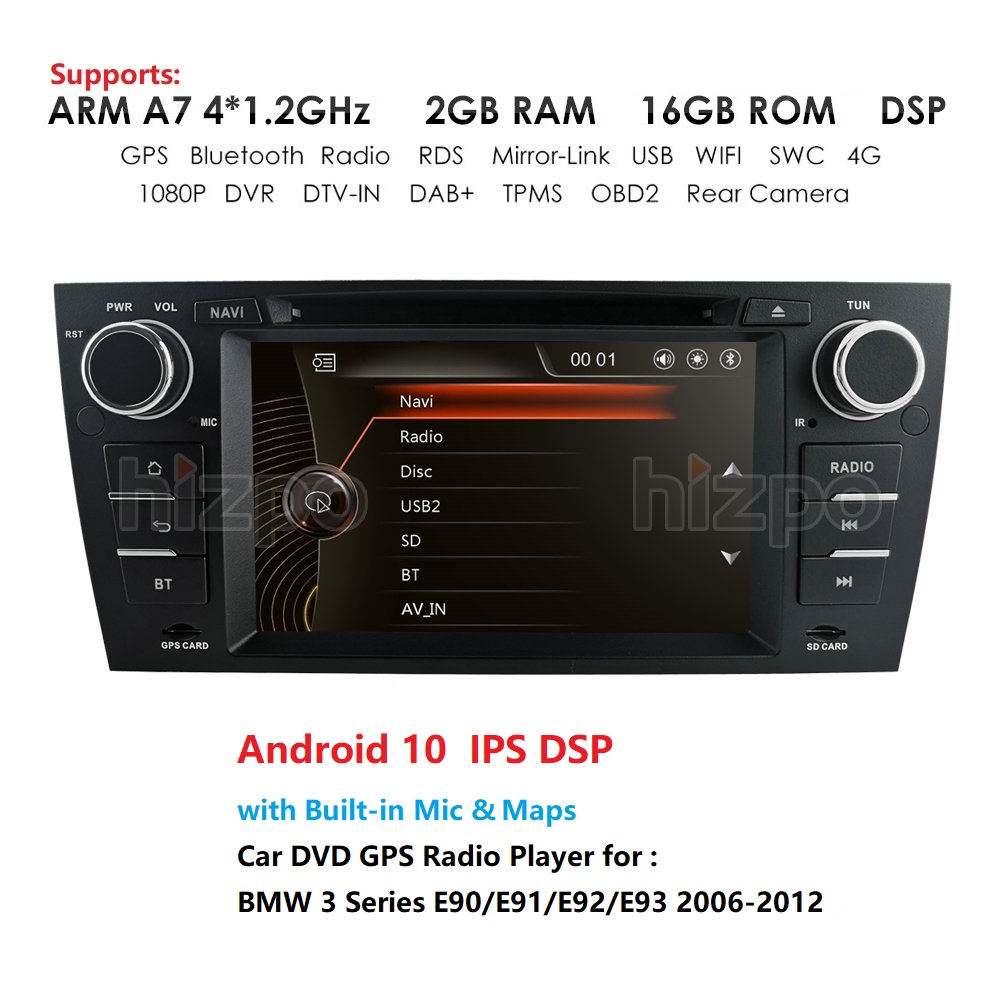 Android 10 7 Inch DSP 2GB 16GB Car Radio DVD player For bmw 3 series <font><b>e90</b></font> E91 E92 E93 <font><b>GPS</b></font> Navigation with BT SWC RDS MAP Card USB image
