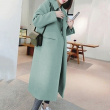 2019 New Arrival Women Solid Color Wool Blend Coat Long Slee