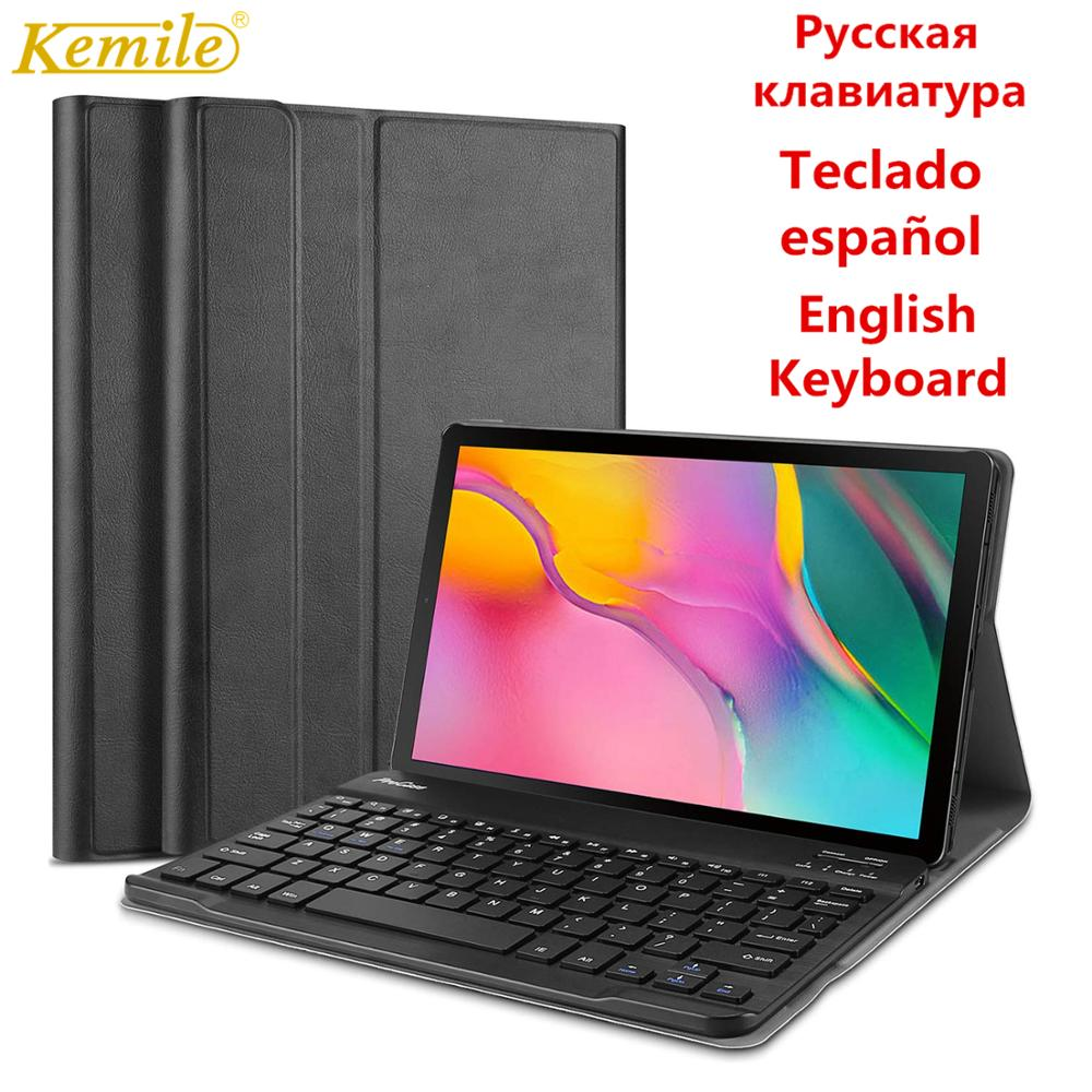 Kemile Spanish Keyboard <font><b>case</b></font> For <font><b>Samsung</b></font> Galaxy Tab A 2019 SM-<font><b>T510</b></font> SM-T515 <font><b>T510</b></font> T515 <font><b>case</b></font> Keyboard Detachable Tablet Cover image