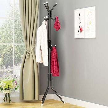 Coat Stand 9/12 Hooks Metal Assembled Hangers Hat Coat Display Standing Rack Clothes Hanger Bedroom Clothing Organizer Furniture