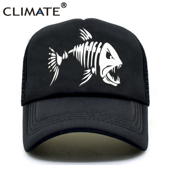 CLIMATE Fishbone Trucker Cap Men Fishing Skeleton Fish Bone HipHop Baseball Caps Summer Fisher Man Mesh Hat for - discount item  47% OFF Hats & Caps