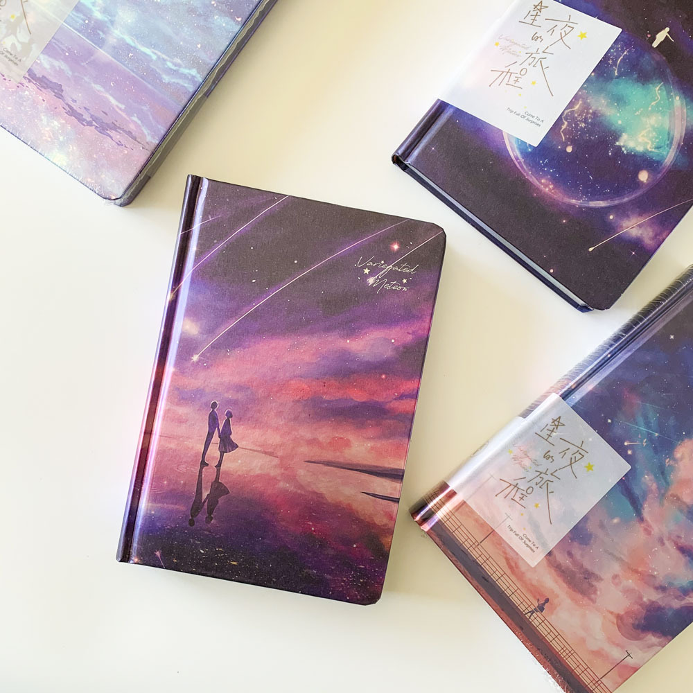 """Stars Come"""" Hard Cover Diary Beautiful Notebook Colored Papers Notepad Journal Memo Kids Stationery Gift"""