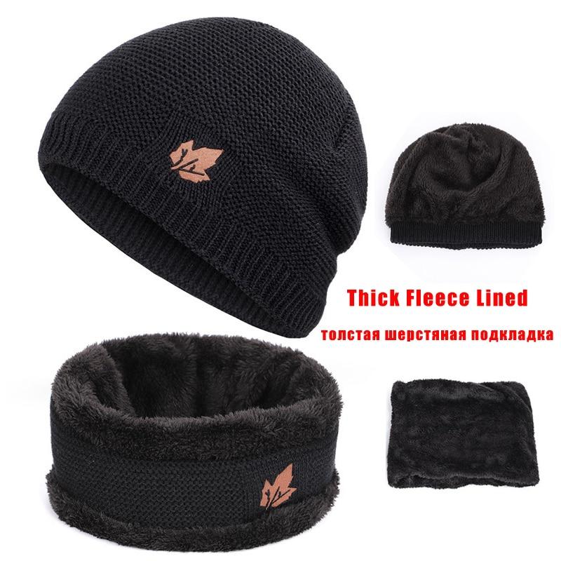 Image 3 - Winter Men Woman Hat Scarf Suit Knit Warm Beanie Hat For Men Skullies Beanies Thickening Plus Velvet Scarf Suit Unisex 2Pcs-in Men's Skullies & Beanies from Apparel Accessories