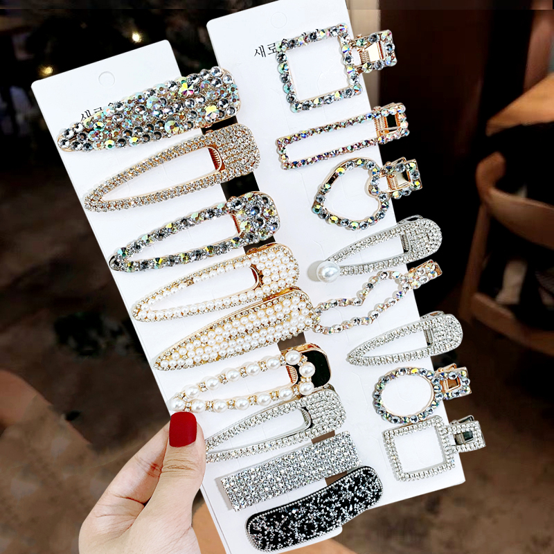 1 Set Sexy Luxury Style Advanced Hair Clips Woman Rhinestones BB Clip Side Face Barrettes Flash Hairpin Hair Accessories