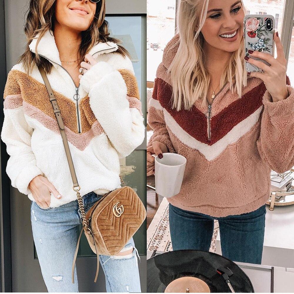 H9c001af9cb1a4092b28f6de58008ca473 New Style Women Warm Teddy Bear Fleece Pullover Coat Zip Outwear Overcoat Long Sleeve Jumper Top Pullover Winter Warm Soft Coat