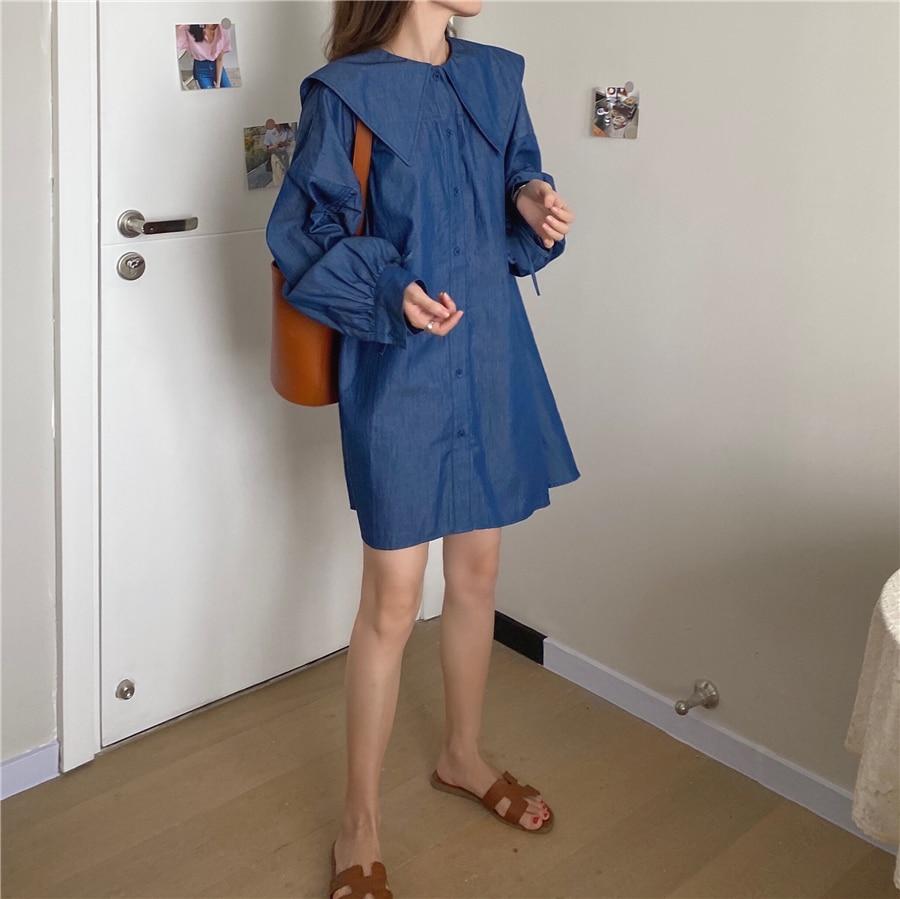 H9c00289bc7a14984bb2a70bd31f07685o - Autumn Korean Big Lapel Collar Long Sleeves Drawstrings Solid Mini Dress