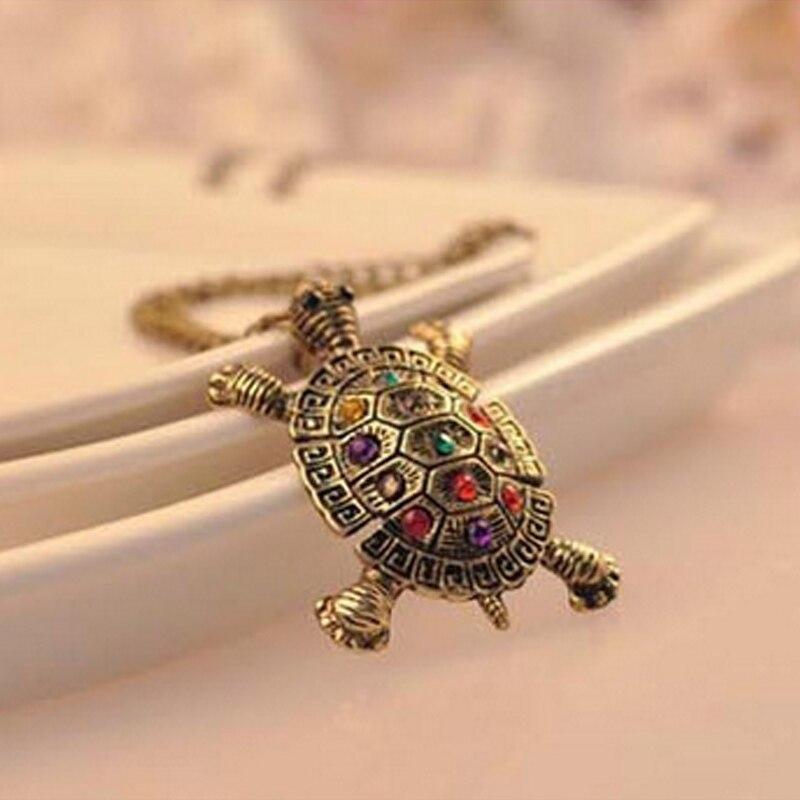 Винтажное ожерелье с подвеской в виде черепахи из сплава с кристаллами, длинная цепочка, ожерелья на свитер, ювелирные изделия, подарки ...