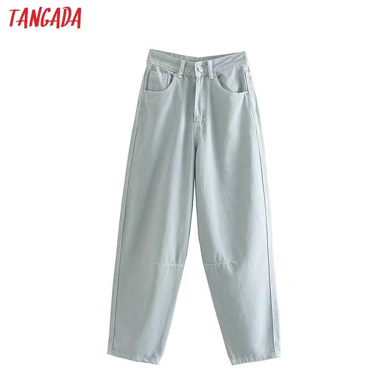 Tangada Women Chic Banana Jeans Pants Buttons Long Trousers Pockets Zipper Loose Casual Female Denim Pants 4M129