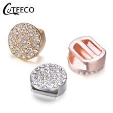 CUTEECO 2019 New Fashion Gold Silver Round with full Crystal Charms Fits Brand Bracelet For Women Mesh Charm