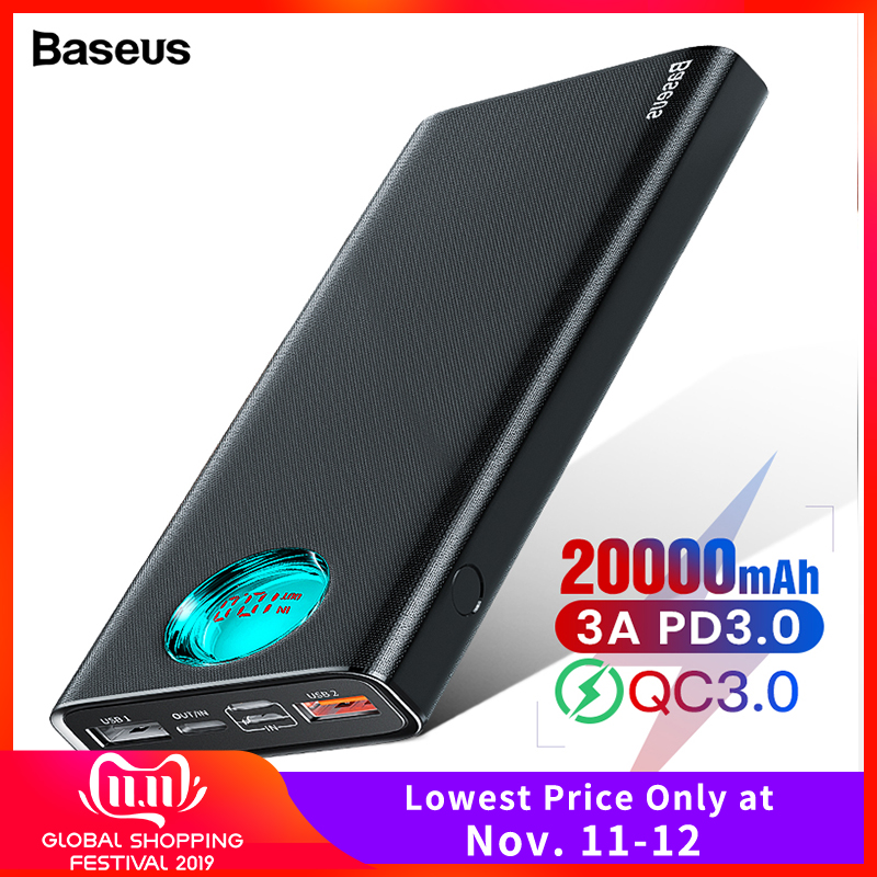 Baseus 20000mAh Power Bank Type C PD Quick Charge 3.0 20000 MAh Powerbank For Xiaomi IPhone 11 Portable External Battery Charger