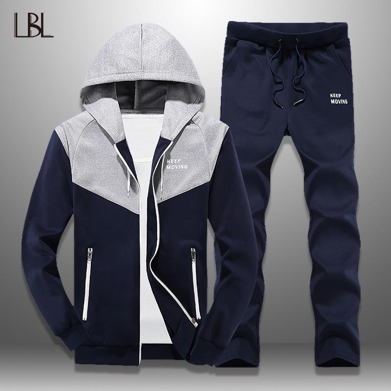 LBL Mens Tracksuit Sportswear Casual Sweat Suit Men Joggers 2 Piece Hoodies Sweatshirt + Pants Sets Sporting Suit Man Streetwear